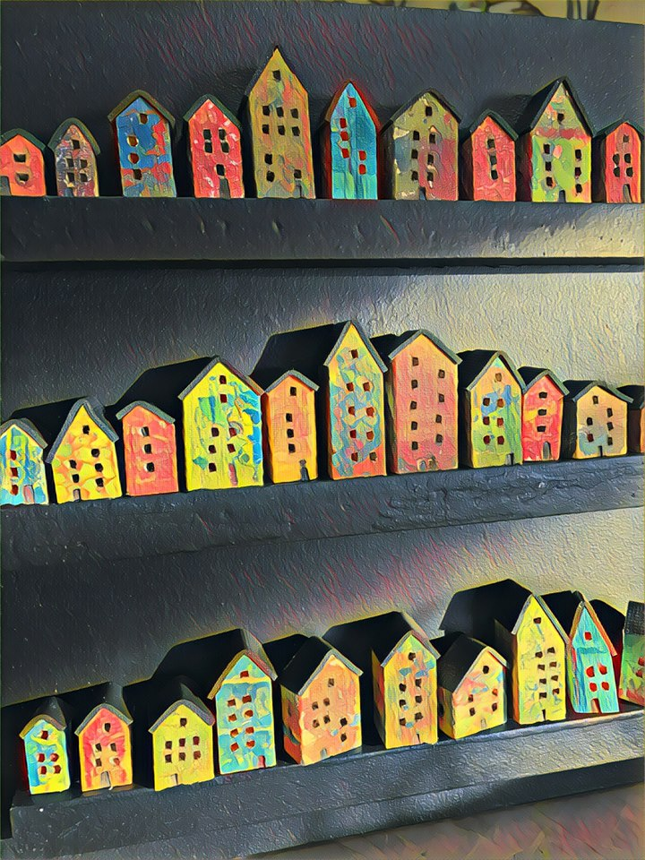 lit houses, collage detail